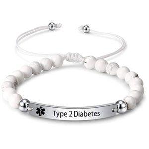Engraved Bead Type 2 Diabetes Medical Alert ID
